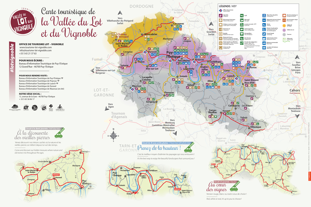 carte vallee du Lot